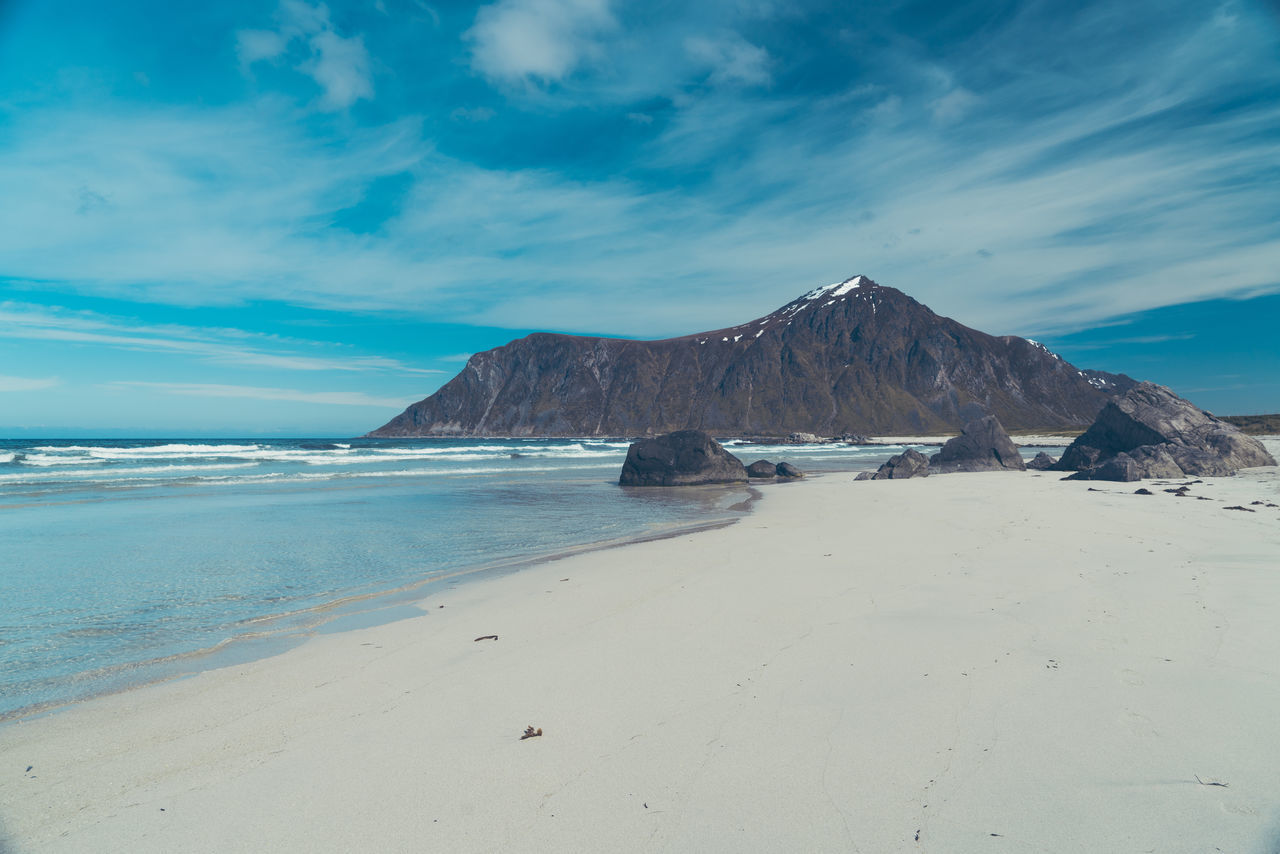 Beach Flakstad Lofoten Norway Day Clear Sky Tranquil Scene Scenics Beauty In Nature Nature Ocean No People Outdoors Travel Destinations Landscape
