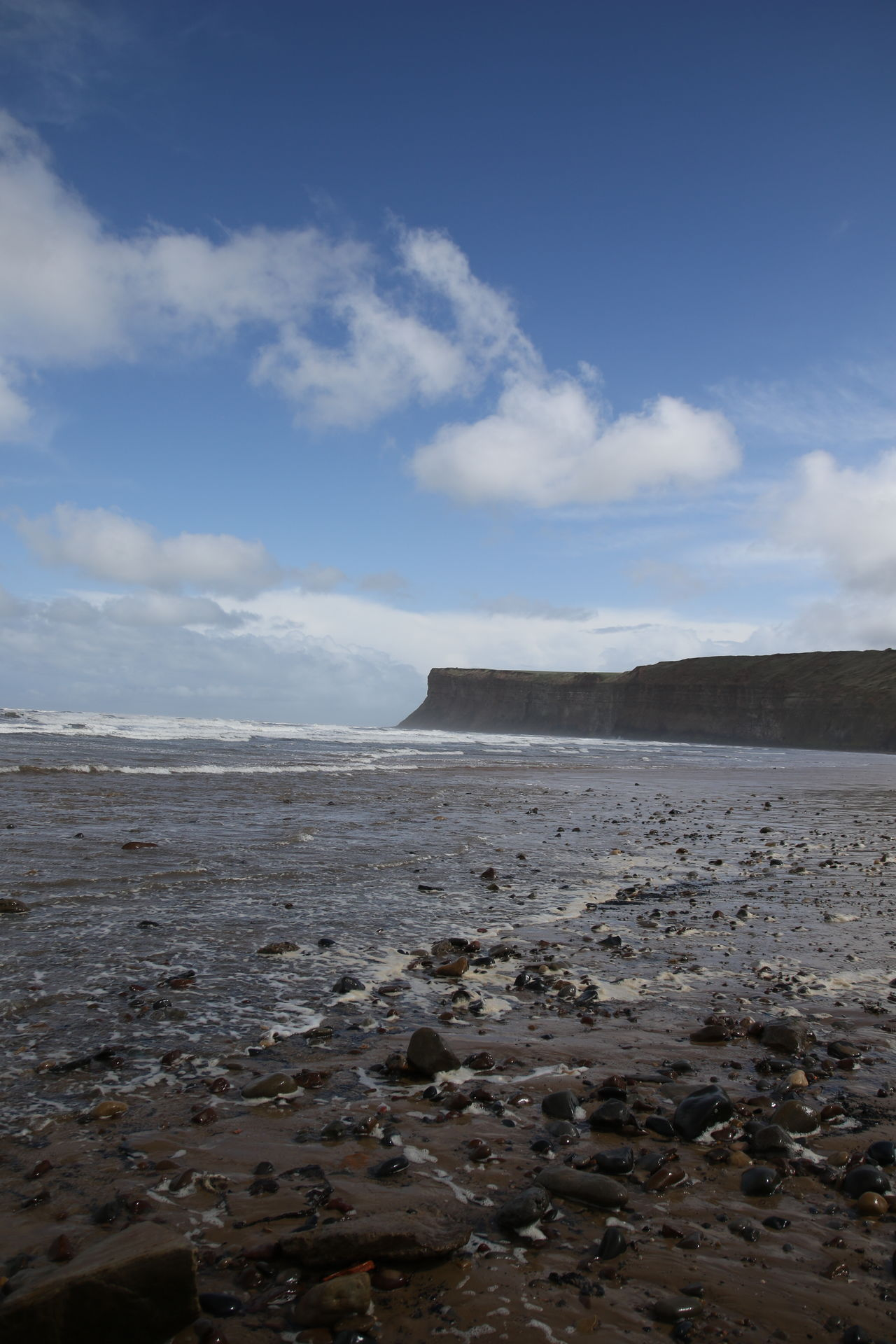 Beach Beauty In Nature Cloud - Sky Coast Coastline Day Headland Horizon Over Water Landscape Nature No People North Yorkshire Outdoors Pebbles On A Beach Saltburn By The Sea Scenics Sea Sky Tranquil Scene Tranquility Water Waves
