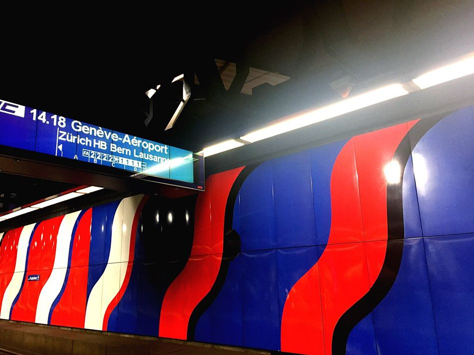 Transportation Low Angle View Train Station Direction Directional Sign Indoors  Modern Bright Colors Wall Architecture Public Transportation Public Transport Public Places Art Underground Undergroundphotography Underground Signs Underground Passage Underground Art Switzerland