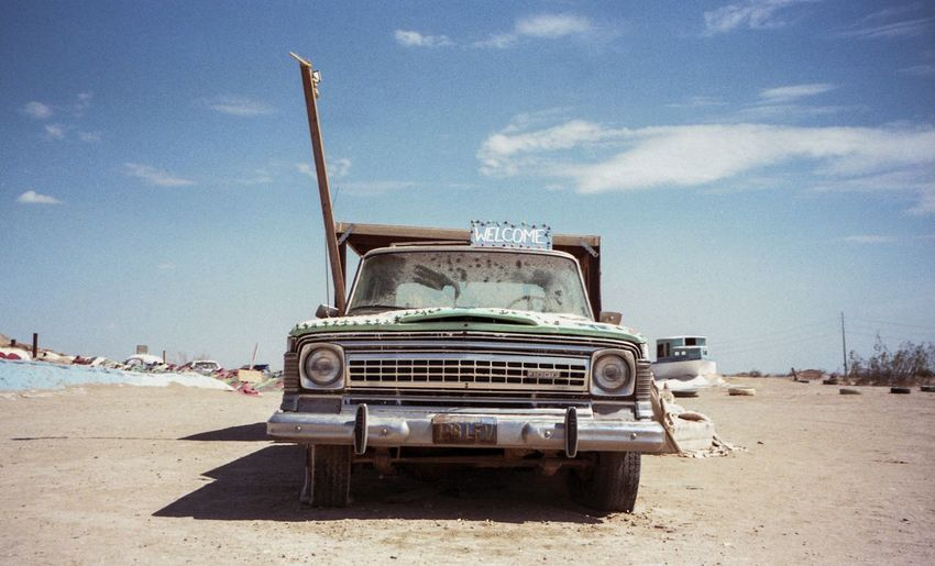 Salvation Mountain California Truck Desert Film Sand 35mm USA No People Sky Sun