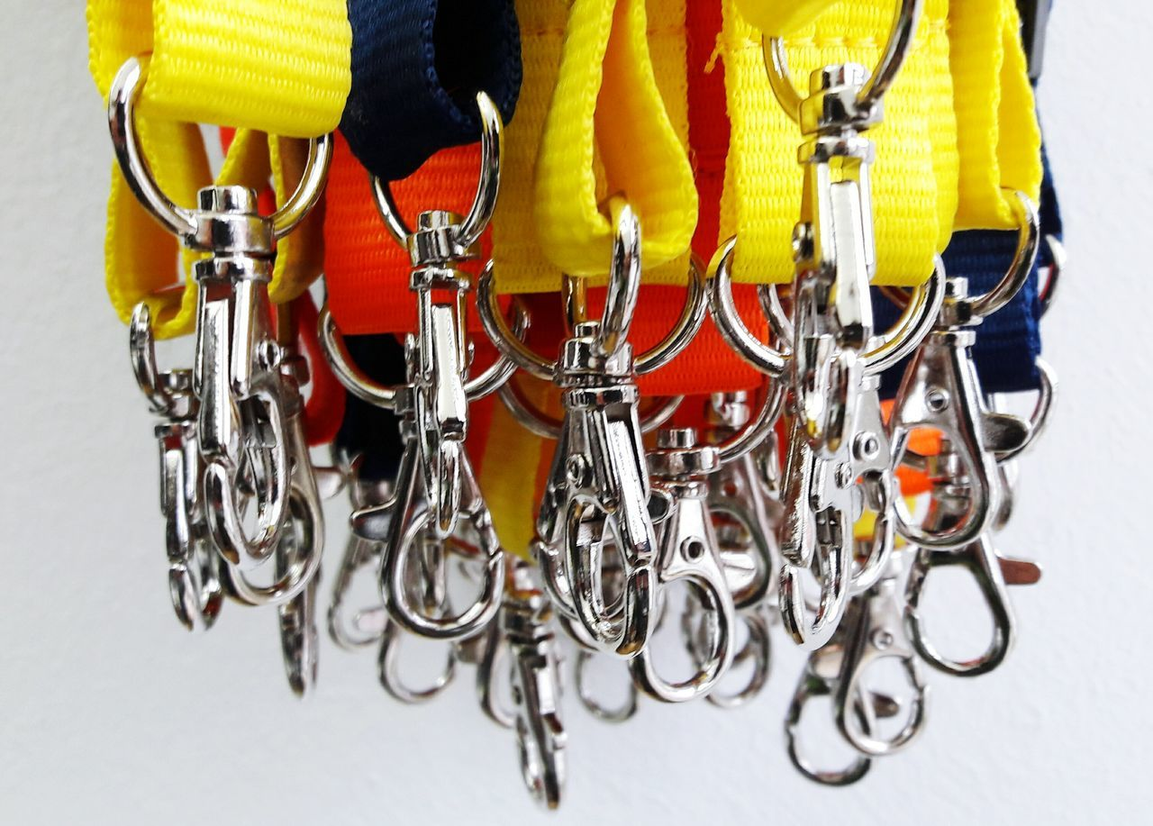 Gimme your Key Close-up Multi Colored Key Chain KeyHolder Key Ring Spring Hook Snap Hook Yellow Red Group Of Objects Metal No People