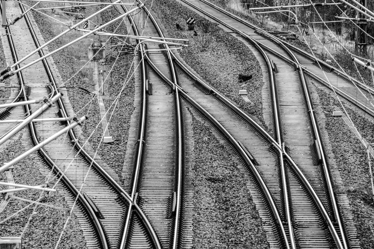Architecture Black And White Complex Complexity Connection Crisscross Day Gleise High Angle View Intertwined Logistic No People Outdoors Rail Transportation Railroad Track Rails Schienen The Way Forward Transportation Transportation Urban Exploration