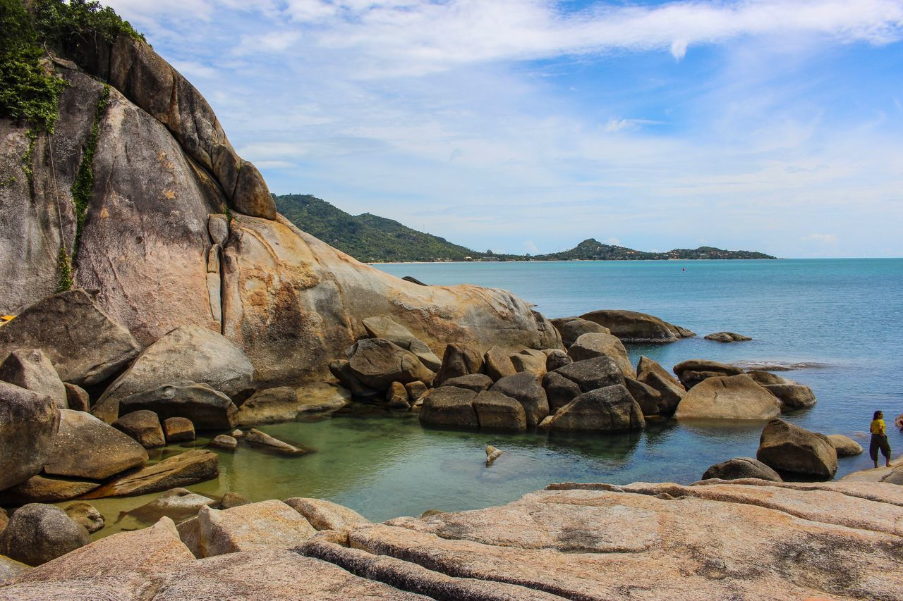 Sea Rock - Object Water Rock Formation Nature Scenics Sky Beauty In Nature Rock Geology Tranquility Day Outdoors Tranquil Scene No People Beach Thailand Kosamui Thai
