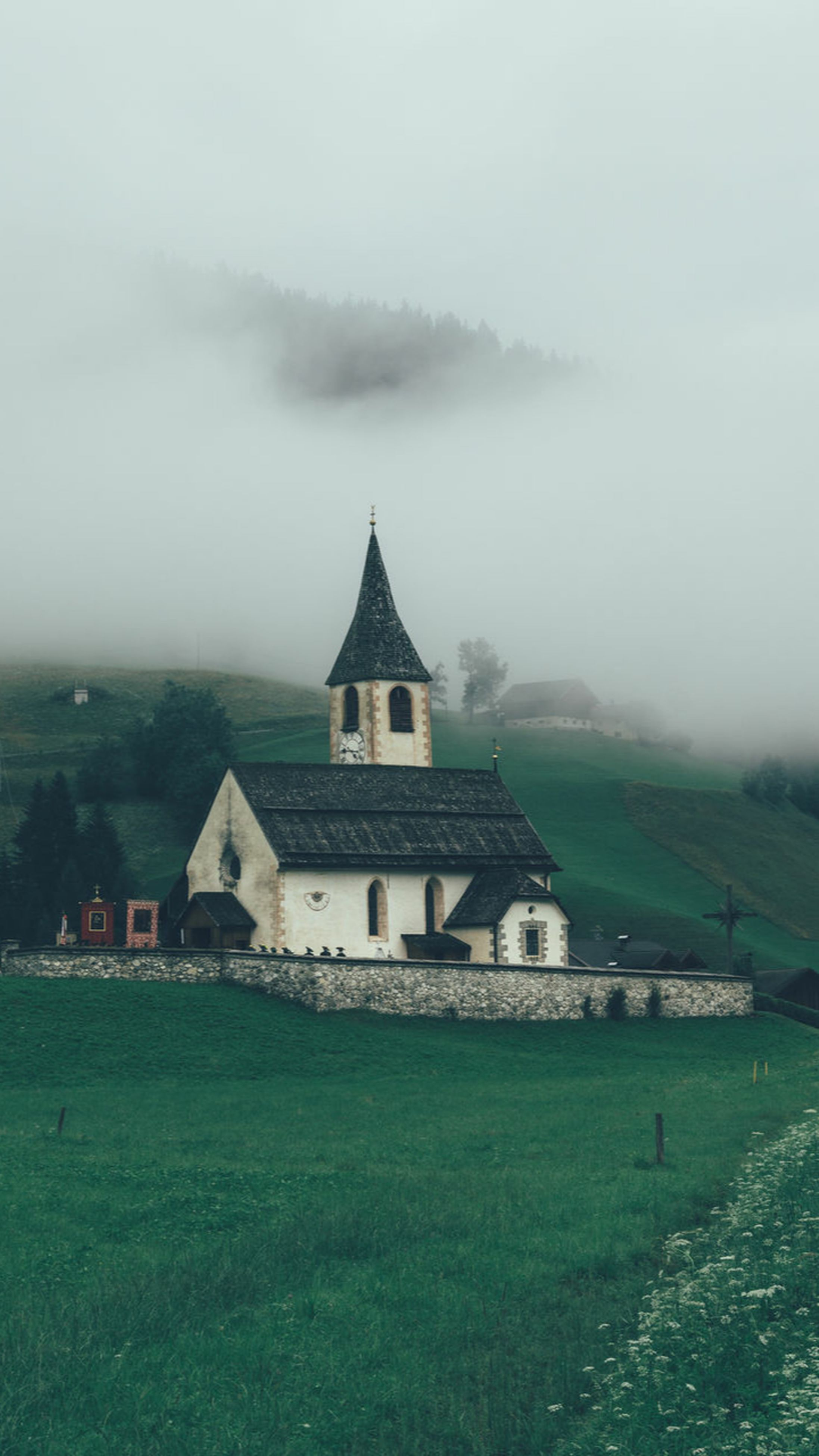 fog, architecture, no people, building exterior, atmospheric mood, landscape, sky, tranquility, tree, cloud - sky, scenics, outdoors, nature, beauty in nature, day