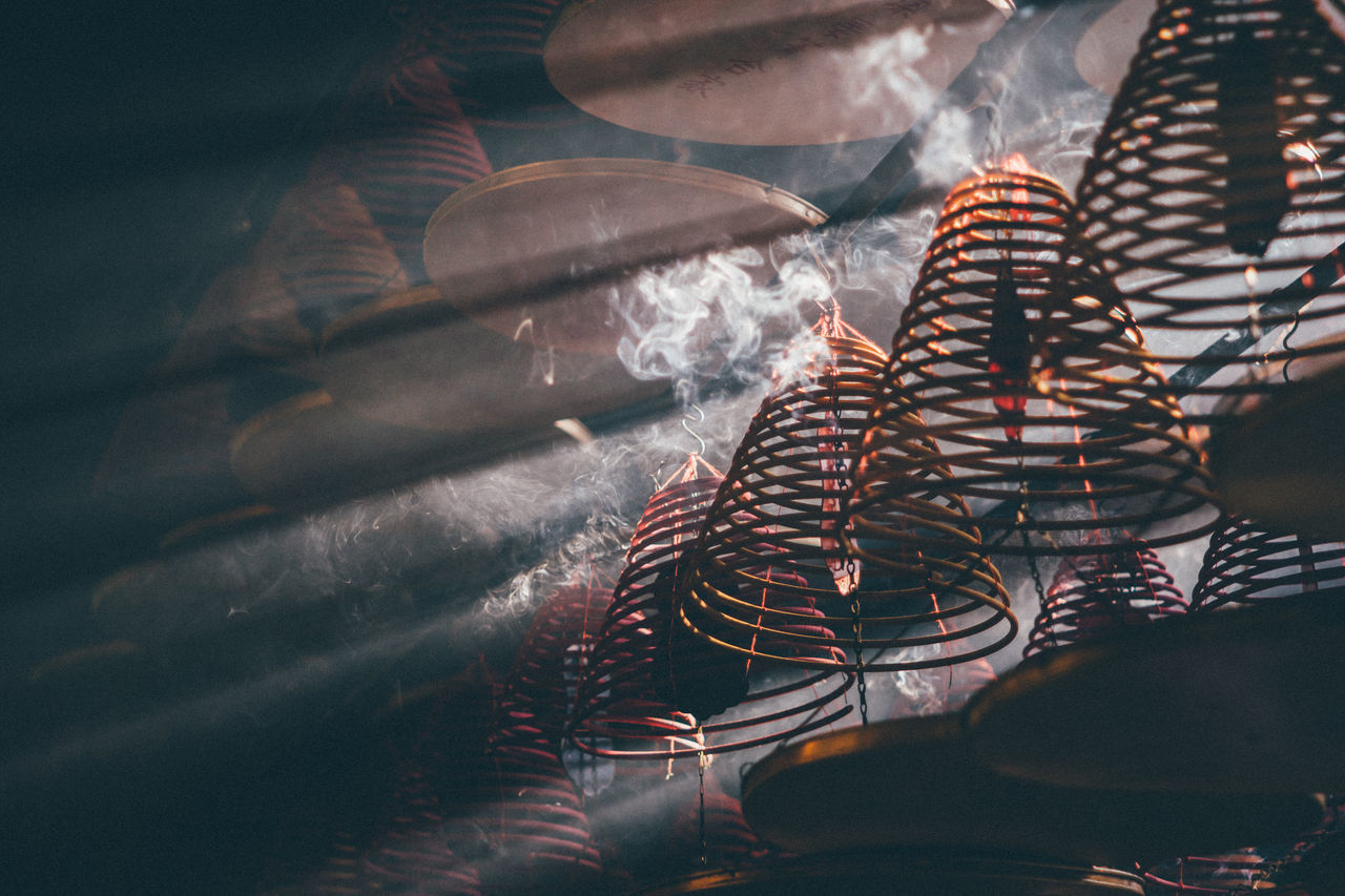 Chinese Chinese Culture Close-up Hong Kong Hong Kong Style HongKong Indoors  Lifestyles Light And Shadow Lights Rays Of Light Smoke Temple Templephotography