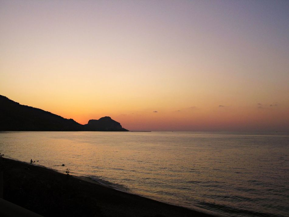 Beach Beauty In Nature Clear Sky Day Horizon Over Water Idyllic Mountain Nature No People Outdoors Scenics Sea Sicilian Memories Silhouette Sky Summer Memories 🌄 Sunset Sunset Silhouettes Tranquil Scene Tranquility Travel Destinations Water
