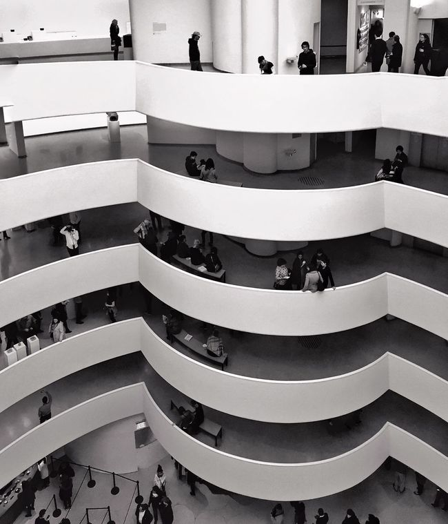 """Every great architect is - necessarily - a great poet. He must be a great original interpreter of his time, his day, his age."" Happy birthday to Frank Lloyd #Wright, born #onthisday in 1867! Frank Lloyd Wright Guggenheim New York City Architecture Architectural Detail Blackandwhite Mpro Iphone6 Mobilephotography"
