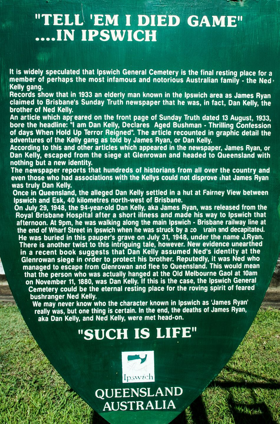 Text History Ned Kelly Sign Information Cemetery Photography Nikon D5100