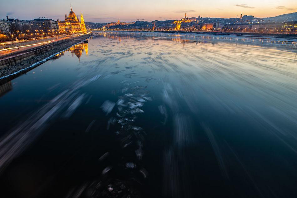 Winter wonderland Budapest City Danube Evening Ice Ice Breaking Lights Long Exposure Movement Nightshot River Winter Wintertime