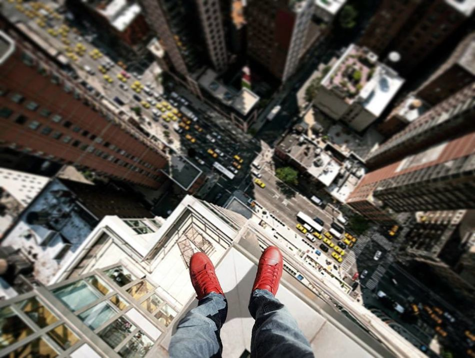 Life on the edge Low Section Person Architecture Built Structure Personal Perspective Building Exterior Human Foot Shoe Tower City Cityscape Day Tourism Famous Place Outdoors Growth Vacations City Life Lifeontheedge Height Tower Above