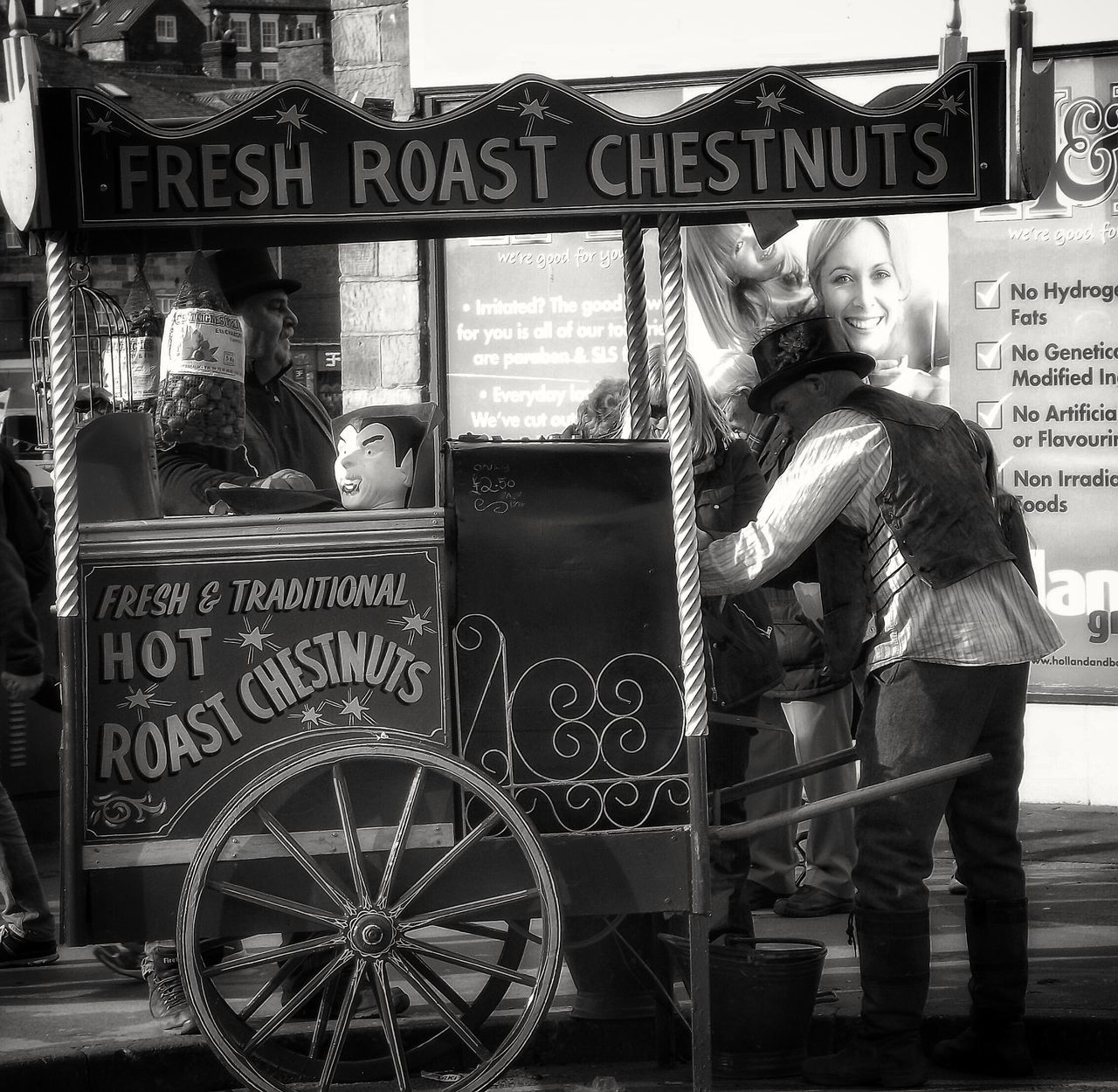 Old fashioned traditional roast chestnuts in whitby Town you don't often see these in many places One Person One Man Only Malephotographerofthemonth Fujifilm Portrait Yorkshire Whitby History Old Fashioned, Old Fashioned Fast Food Black And White Black And White Photography Black And White Portrait Monochrome Photography Roasted Chestnut Enjoy The New Normal
