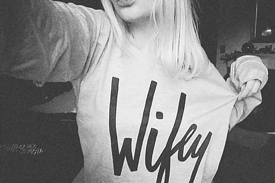 Wifey Sweater Loveit Gift Boyfriend Feeling Good Feeling Loved Blondie Duckface Selfphotography Taking Photos Girl Blonde Girl Today's Hot Look 😗