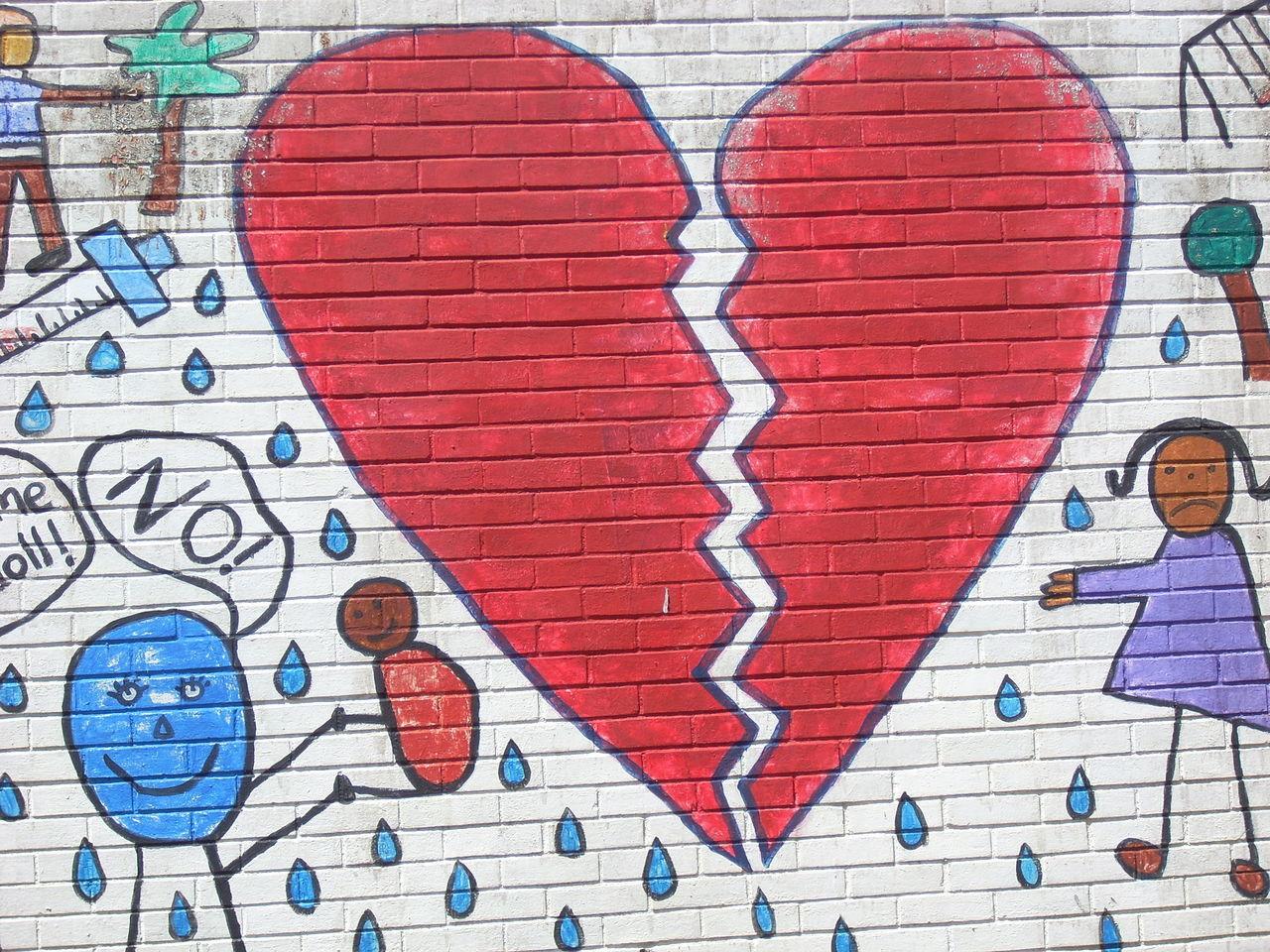 Broken heart. Art Brick Wall Building Exterior Communication Creativity Design Graffiti Heartbreak Love No People Symbol Wall