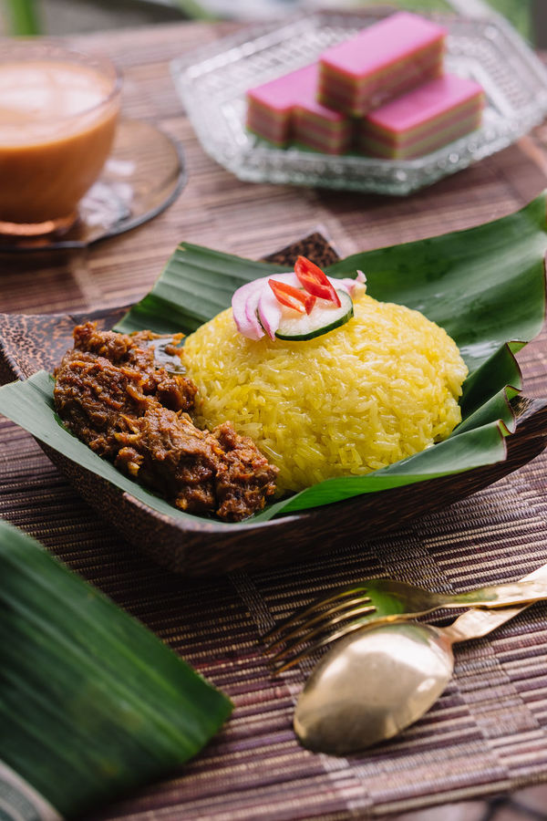 Pulut Kuning Malaysian Food Nasi Kunyit Banana Leaf Close-up Day Food Food And Drink Freshness Indoors  No People Plate Ready-to-eat Table Traditional Food