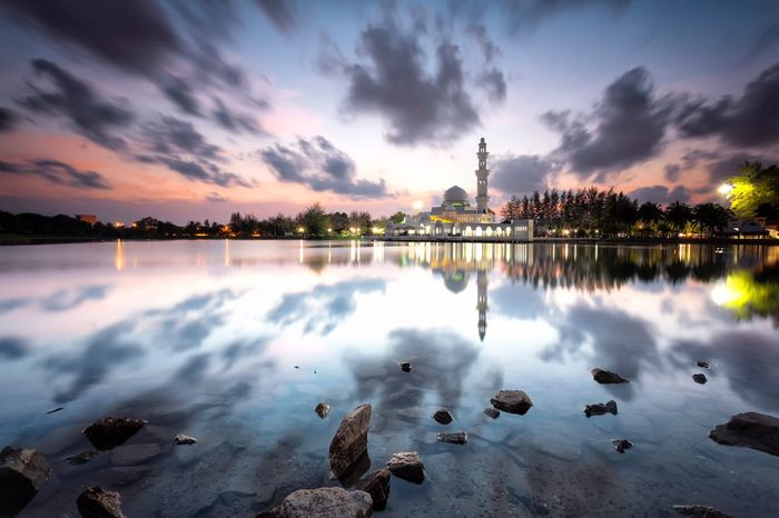 Tengku Tengah Zaharah Mosque (Floating Mosque), Terengganu, Malaysia Reflection Sky Sunset Cloud - Sky Water Nature Lake Beauty In Nature Outdoors Tree Luminosity Sunrise Sunset Scenics Floating Mosque Masjid Mosque Floating EyeEm Selects 100 Days Of Summer EyeEm Selects Lost In The Landscape