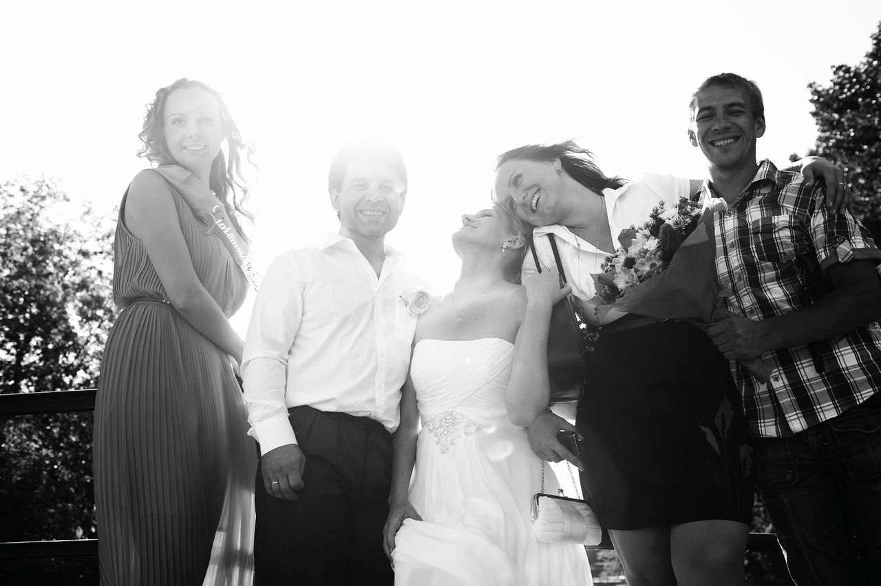 Affection Black And White Caucasian Ceremony Friends Group Happy Man Marriage  Married Monochrome Newlywed People Retro Vintage Wedding Woman