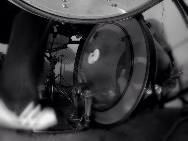 different angle Motion Motion Blur Action BassDrum Bass Drum Drums Perspective Percussion Instrument Percussion Music Black & White Blackandwhite Black And White Close-up My Adidas Low Angle View Indoors  Kick Drum Pedals Doublekickpedals Doublepedal Whatever No Budget Photography