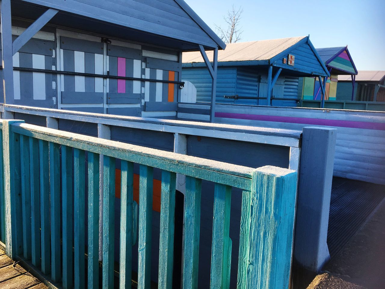 Beach Huts in Whitstable on Frozen Winter Morning Light