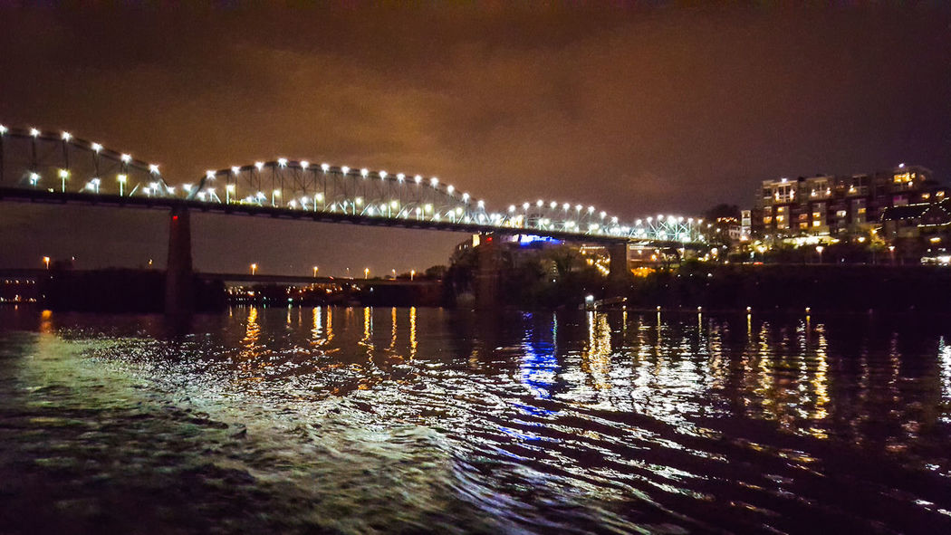 Cityscape No People Illuminated Water Celebration Bridge - Man Made Structure Architecture Outdoors City Sky Night Tennessee!  Chattanooga Tennesseephotography Chattanooga Tennessee Bridge River View