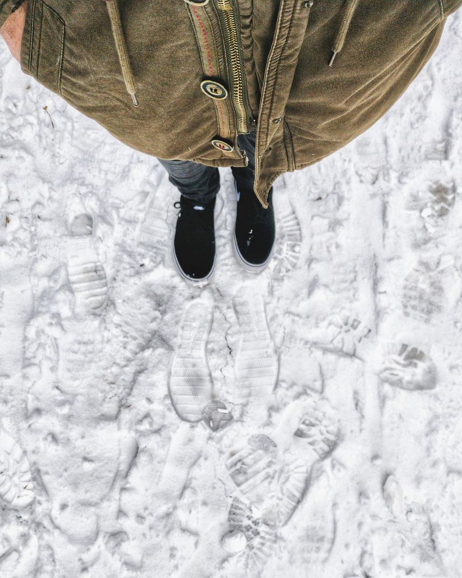Footsteps 👣👣 High Angle View Winter Snow Close-up Cold Temperature Real People Leisure Activity Day One Person Low Section Men Human Body Part Nature Outdoors Warm Clothing Human Leg Adults Only People Adult