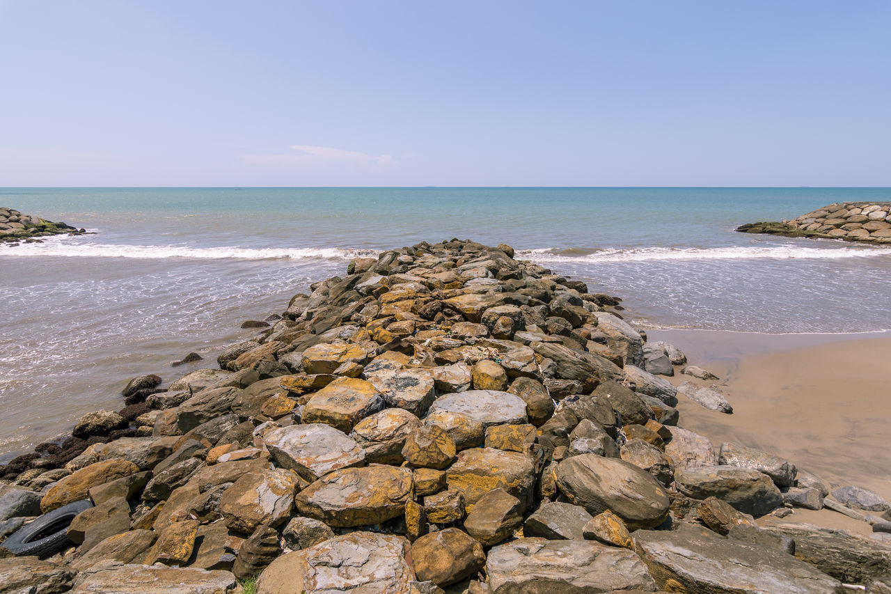 Rock groynes at the city beach. Beach Calm City Beach Clear Sky Day Groyne Horizon Over Water Leading Lines Lines No People Nobody Outdoors Rock Rocks Sand Scenics Sea Sky Tyre Waves