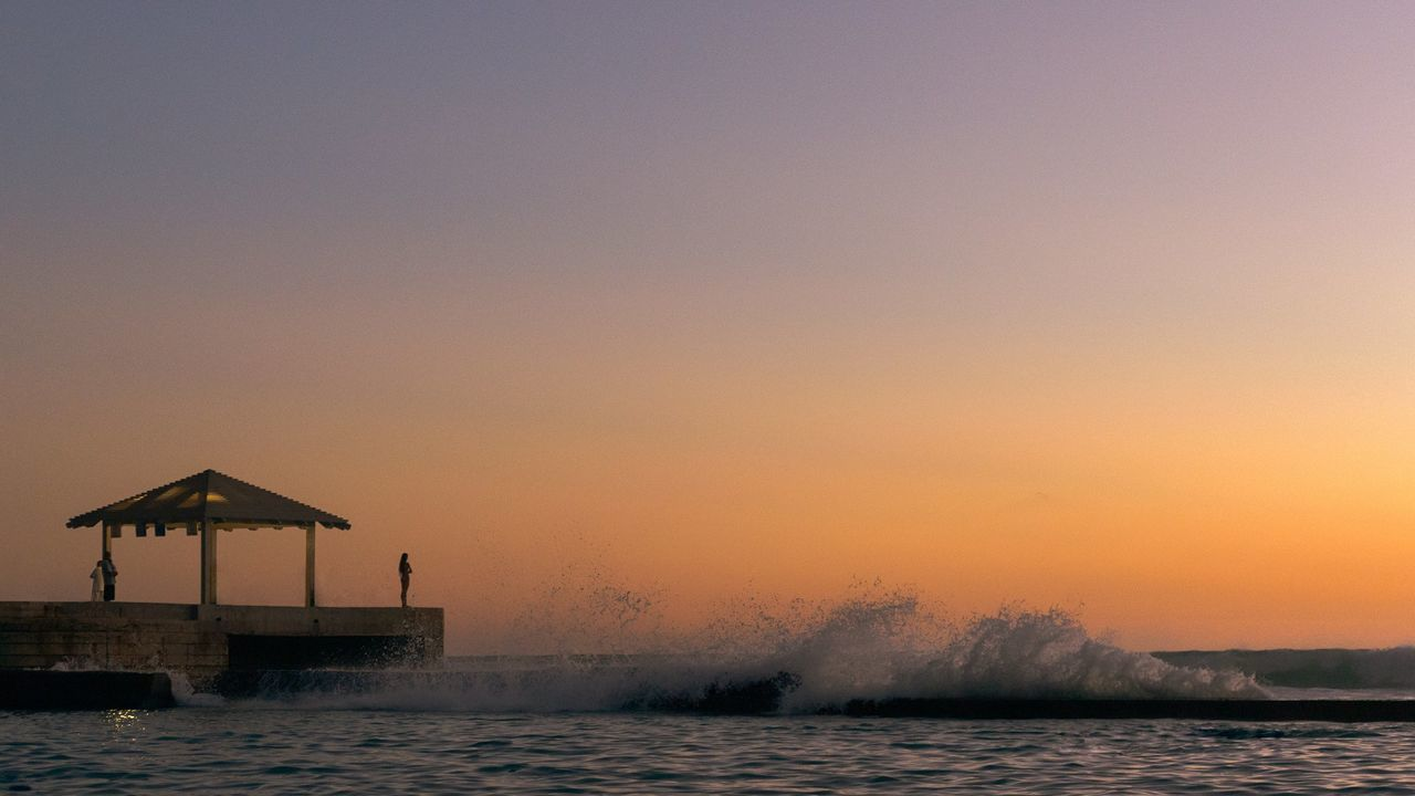 Sunset Ocean Waves Crashing Sky