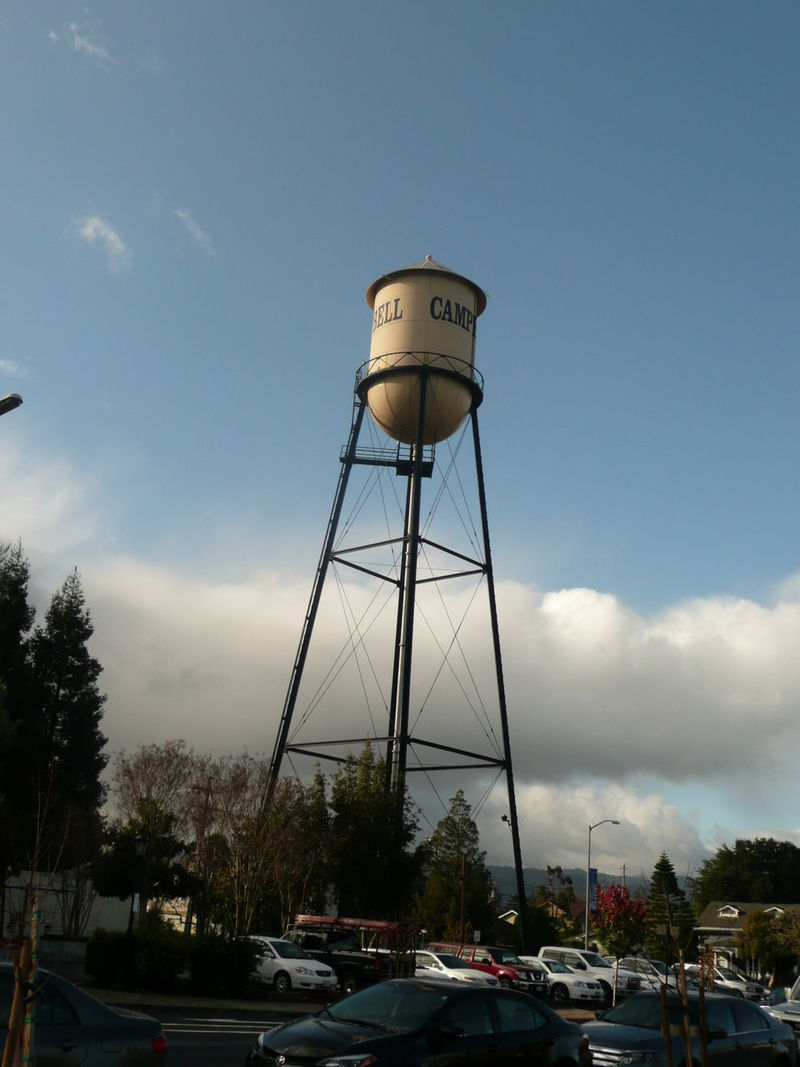 Campbell, California town clock tower at water district Architecture Built Structure Car Cloud - Sky Clouds Clouds And Sky Day Landmarks Low Angle View Mode Of Transport Nature No People Outdoors Parking Lot Photography Public Utility Sky Town Town Square Transportation Travel Photography Tree Utility Water Company Water Tower Water Tower - Storage Tank