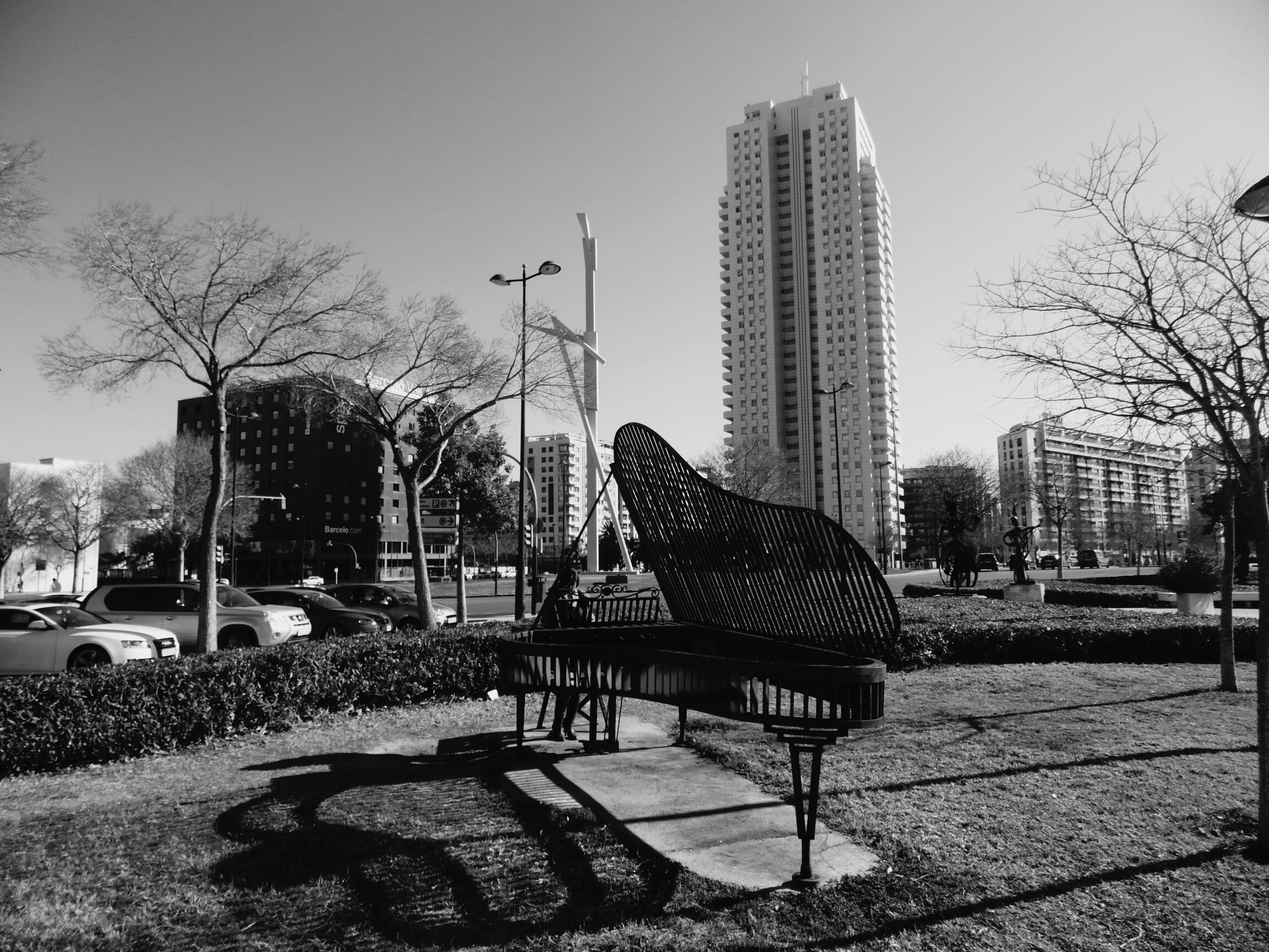 tree, building exterior, architecture, city, built structure, park - man made space, clear sky, park, chair, sky, bench, absence, sunlight, empty, modern, day, growth, outdoors, skyscraper, bare tree