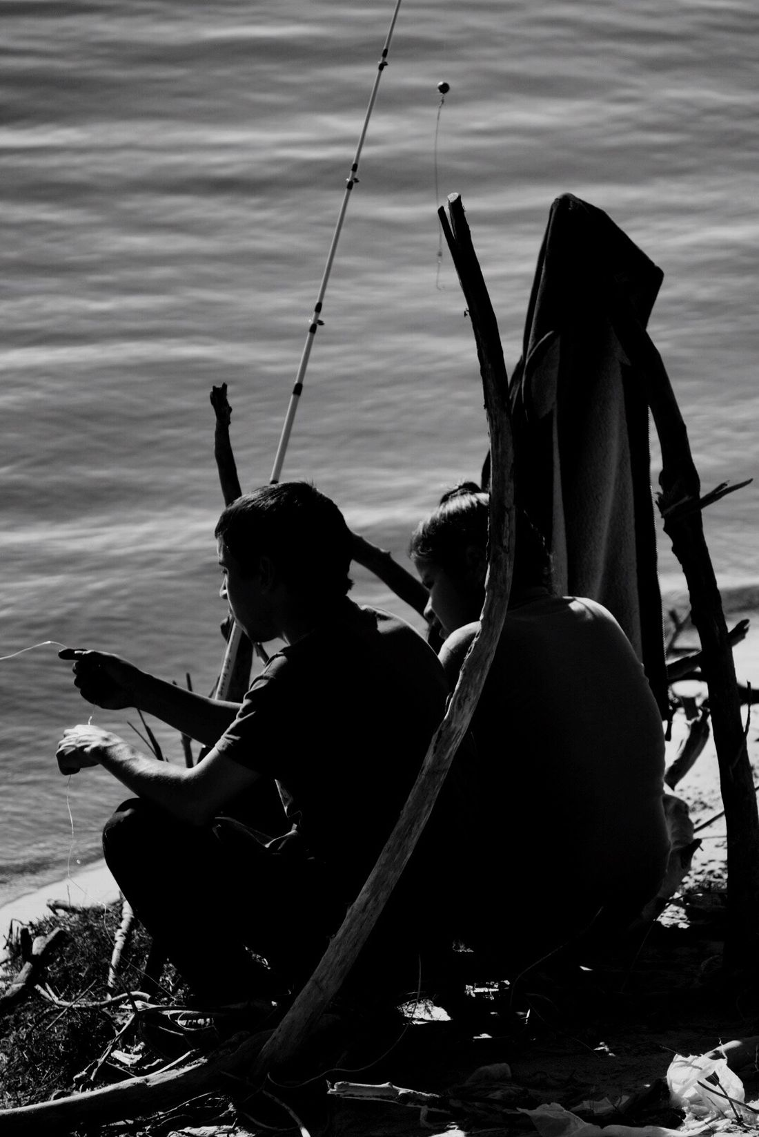 Fishing For Dinner Paraná River Day Sitting Holding Tranquility