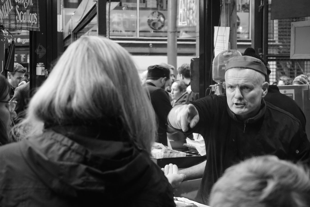 Haggling // Sony a6000 // Senior Adult Real People Food Men Market London Marketplace London Lifestyle Borough Market Stall Blackandwhite Black & White This Week On Eyeem Welcomeweekly Sony A6000