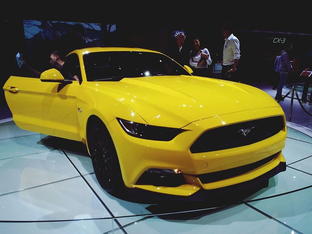 Ford Ford Mustang Yellow American Cars GenevaInternationalMotorShow2015 GIMS2015 Swiss Portrait Of America