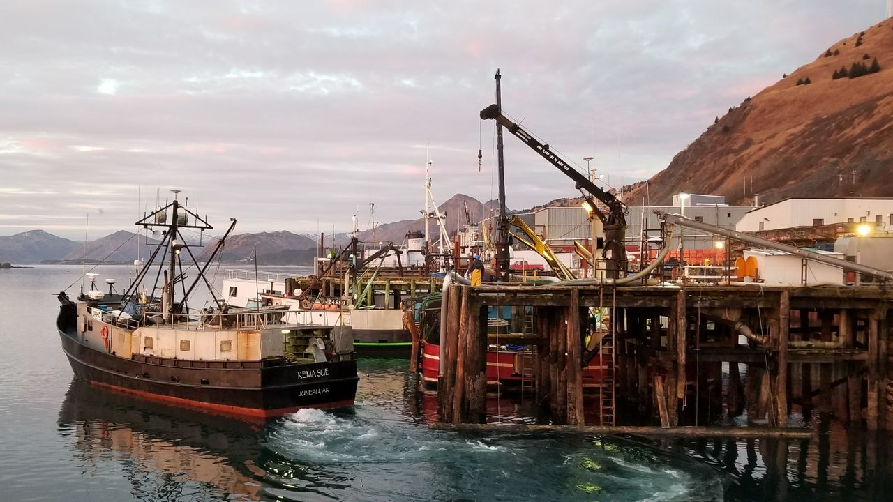 Nautical Vessel Water Sea Harbor Transportation Reflection Outdoors MountainDramatic Sky Landscape Fish Industry Nature Day Commercial Dock Sky Voyageur Country Imaging Kodiak Alaska Fish Tender Photography Autumn Long Line Fishing Boat Moored Cannery