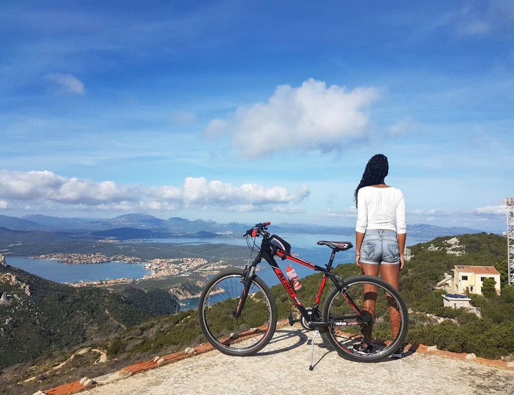 Bicycle One Person Adventure Mountain Beauty In Nature Nature Landscape Clouds And Sky Sea View Bicyclelife Golfo Aranci Sardegna Italy Woman Portrait Woman ThatsMe Sport My Year My View