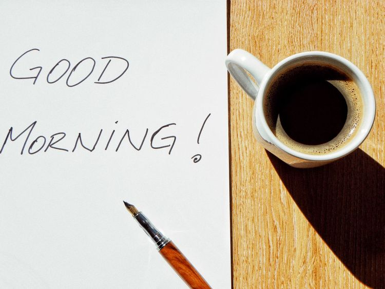 Pen Handwriting  Communication Paper Indoors  No People Close-up Day Note Fountain Pen Good Morning Morning Notebook Wishing Good Morning Cup Cup Of Coffee White Cup Early In The Morning Before Work