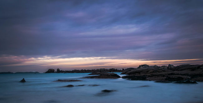Atmosphere Beach Beauty In Nature Bleu Bretagne Clouds Coastline Colours Effect Granit Horizon Over Water Landscape Long Exposure NIKON D5300 Ocean Orange Outdoors Purple Rocks Sand Sea Sky Sunset Tranquility Water