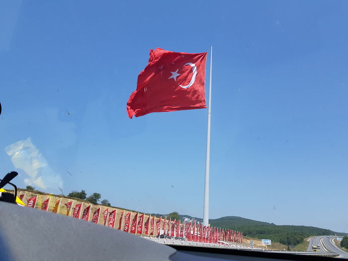 Flag Red Wind Outdoors Day Sky No People Captured By Me Capturing Movement Turkey Türkiye Moon Moon Star Highway Capture The Moment Captured By Me
