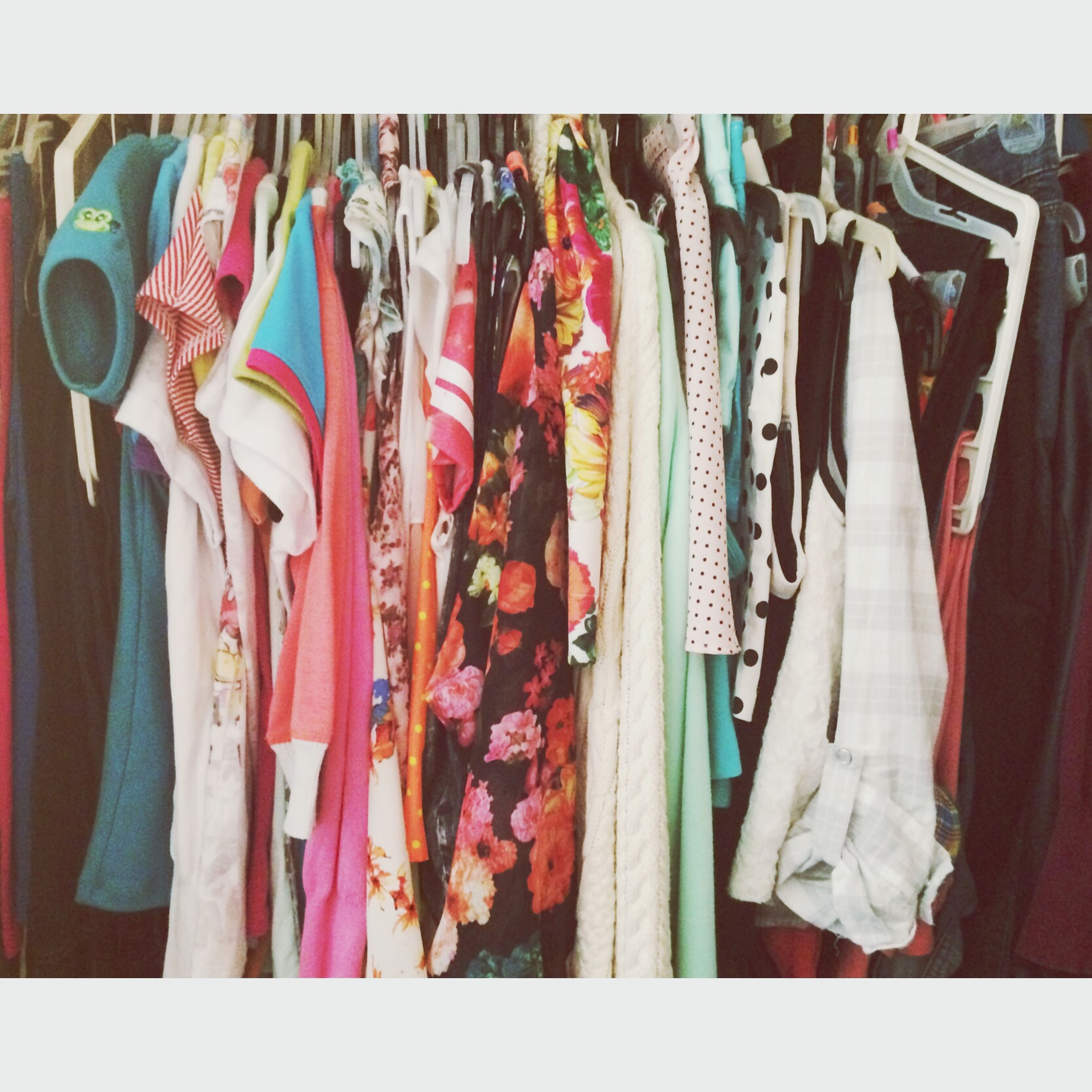 transfer print, clothing, variation, hanging, choice, auto post production filter, indoors, for sale, multi colored, retail, fashion, textile, large group of objects, abundance, in a row, arrangement, standing, display, collection