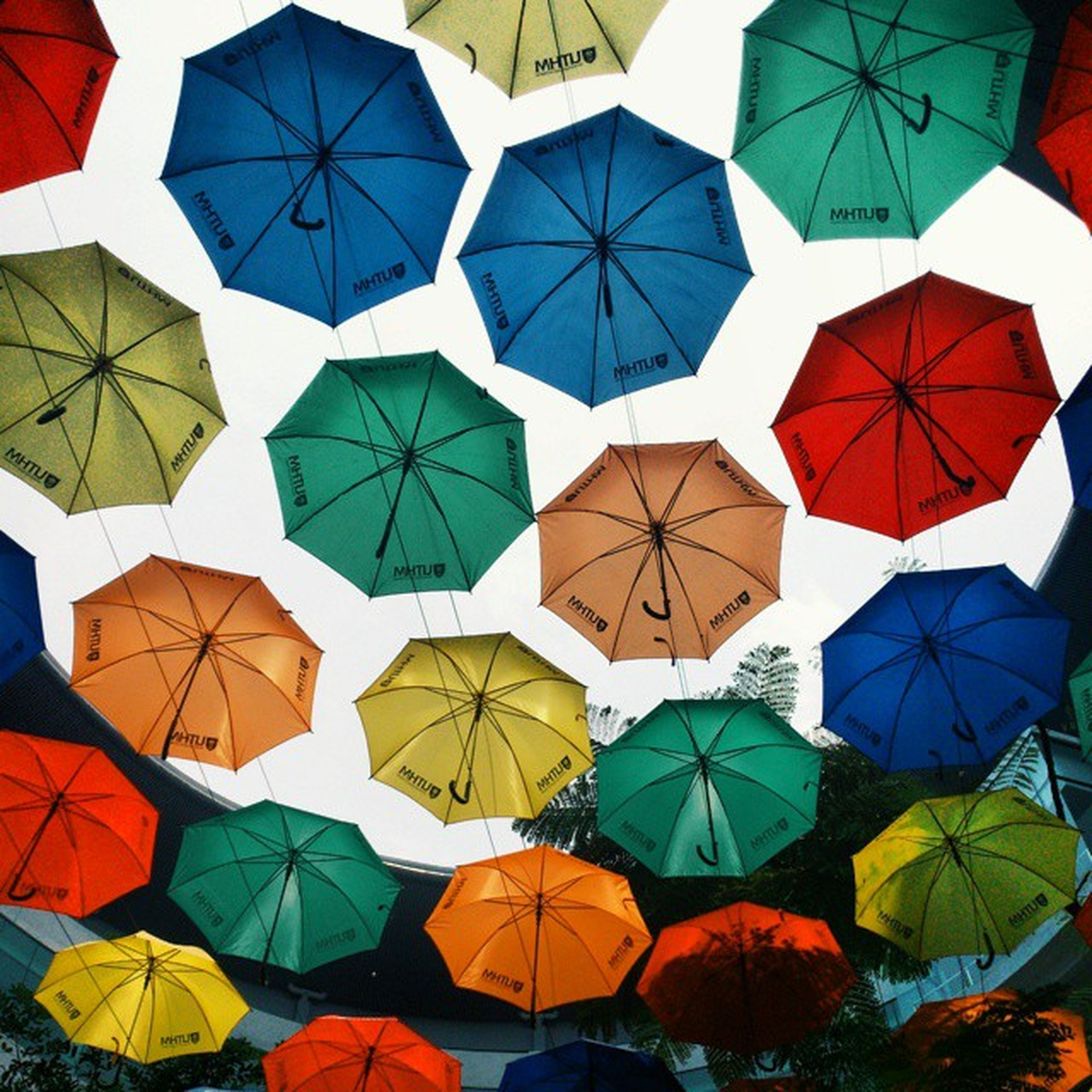 multi colored, full frame, backgrounds, pattern, colorful, umbrella, architecture, built structure, design, low angle view, blue, building exterior, variation, modern, day, in a row, repetition, no people, decoration, protection