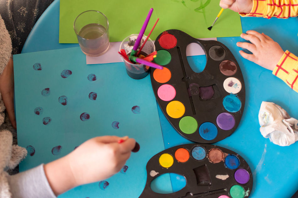 Child Table Multi Colored Human Hand Indoors  Togetherness People Day Paper Colours Water Creativity Palette Painting Close-up Children Only Indoors  Holding Leisure Activity Family Siblings