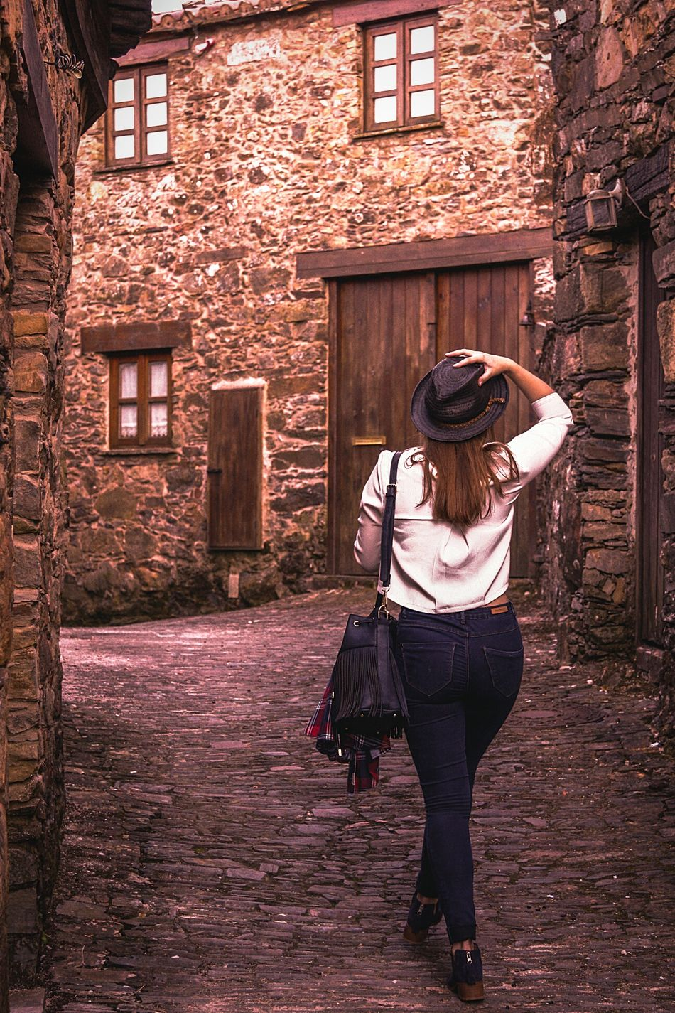 People And Places Architecture Building Exterior Full Length Built Structure Casual Clothing Standing Leisure Activity Innocence Footpath Day Outdoors In Front Of Red City Life Gondramaz Aldeias Do Xisto