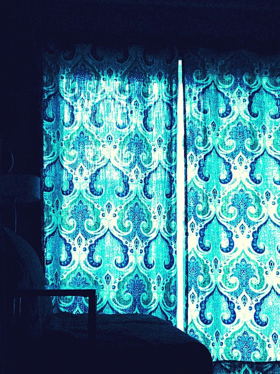Blue Pattern No People Indoors  Night Close-up Curtains Can Be Beautiful Seattle, Washington Bluelight Paisley