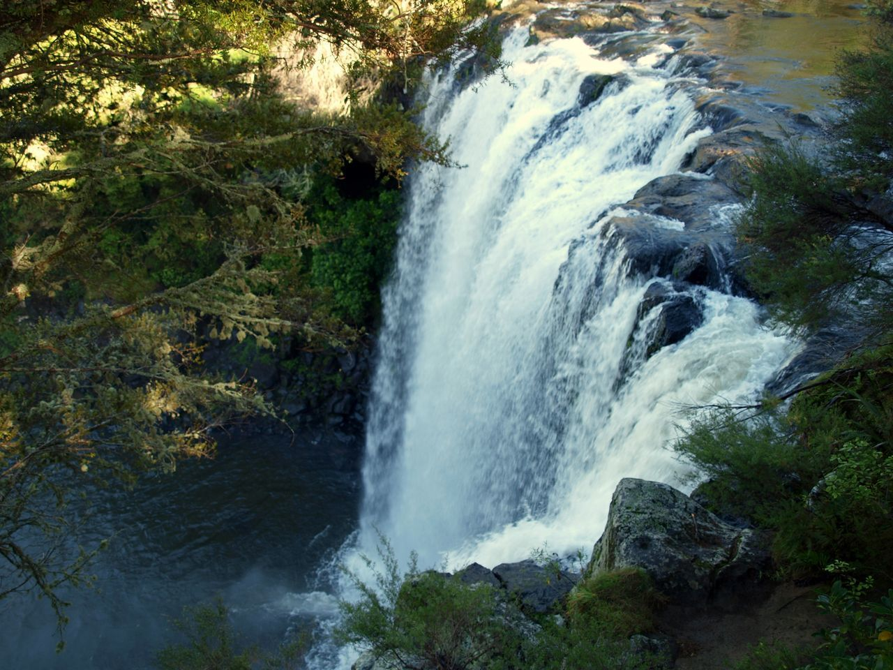 Elevated view of waterfall