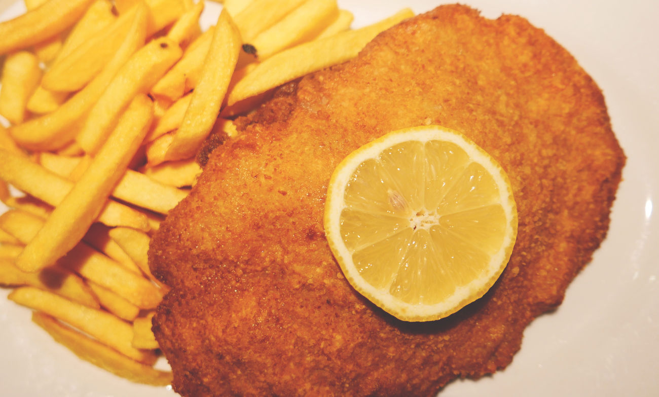 Wiener Schnitzel with fries Australia Close-up Food Food And Drink French Fries Germany Meat Ready-to-eat Schnitzel Wiener Schnitzel