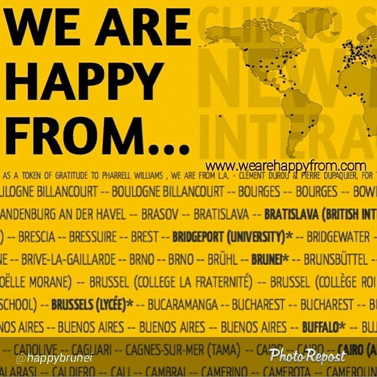 """By @happybrunei """"Hurray! We are now listed at www.wearehappyfrom.com where you can find (so far) 1950 Happy videos from 153 countries which equals to 141 hrs 46 mins of shared happiness. So if you've got time to kill, you should go and check out the site. And on another note, we now have nearly 20k views of Happy Brunei. Thanks for the love y'all! Wearehappybrunei HappyBrunei Brunei Wearehappyfrom """""""