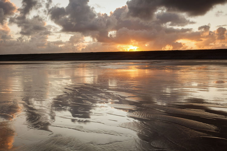 Beach Sunrise Cloudscape English Seaside Nature North Devon Westward Ho Beach Wet Sand Wet Sand Reflection Beach Dramatic Clouds Outdoors Reflective Beach Seascape Sunrise Textured Beach Tranquil Scene Water Westward Ho!