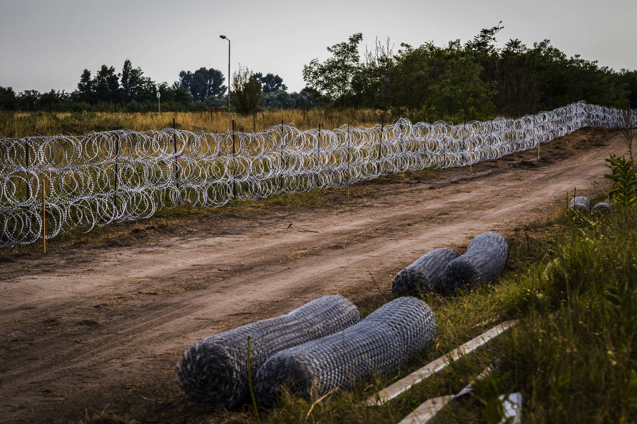 Firewall against illegal immigrants and refugees on the border between Hungary and Serbia Barbed Wire Barbed Wire Fence Border Borderline Day Fence Firewall Frontier Frontière No People Outdoors State Border
