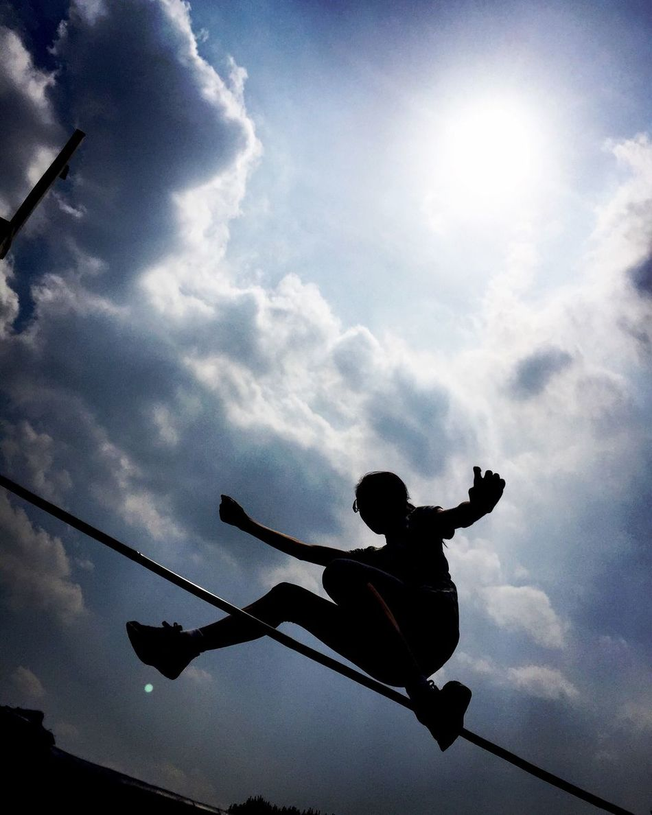 Sky Silhouette Low Angle View One Person Real People Cloud - Sky Leisure Activity Men Outdoors Boys Sport Day People