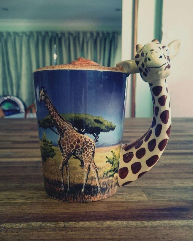 Good morning 😀 Indoors  Animal Themes No People Souvenir Giraffe♥ Coffee ☕ Breakfast ♥ Surface Level