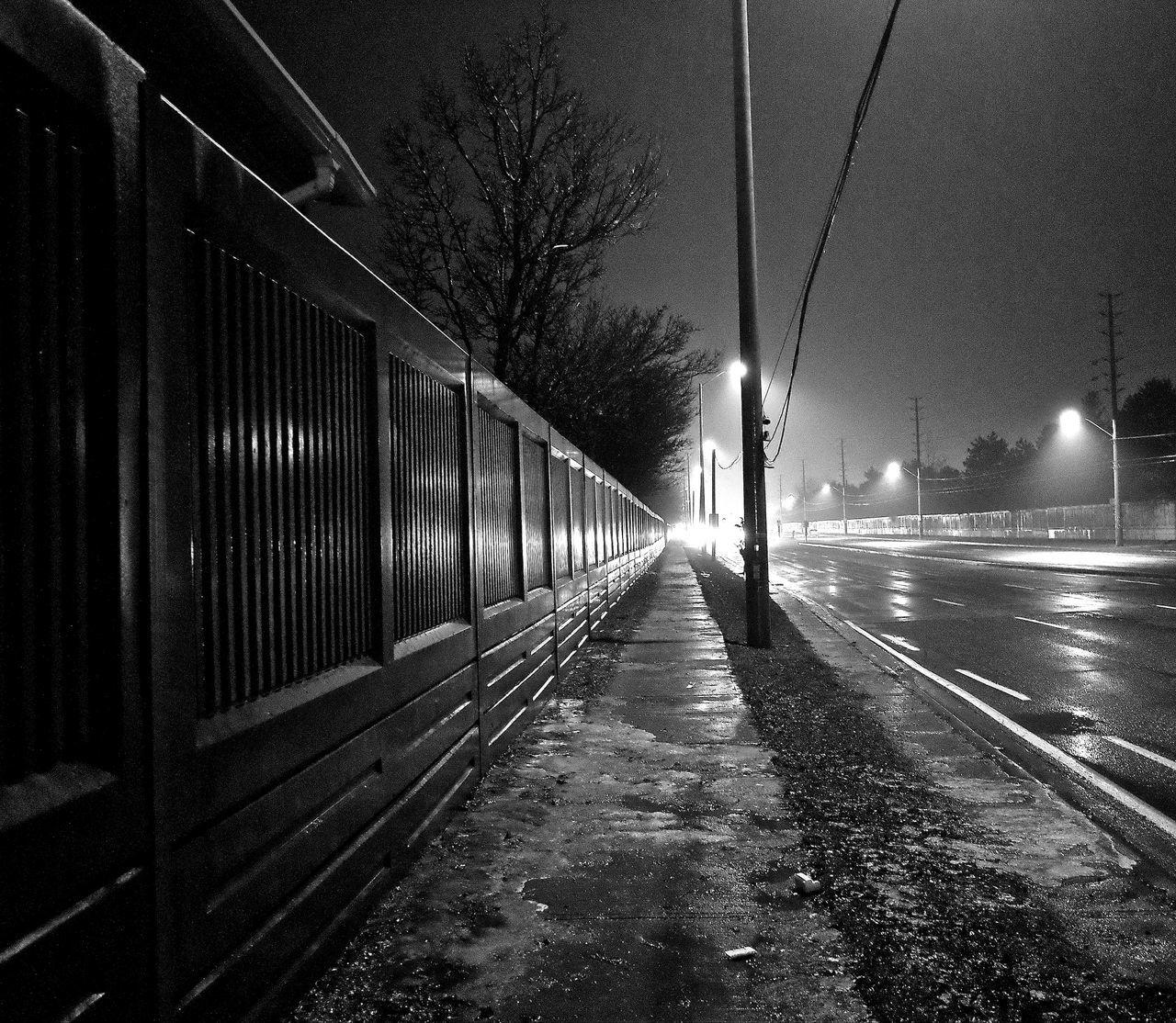 night, illuminated, street light, transportation, outdoors, tree, no people, the way forward, sky, architecture