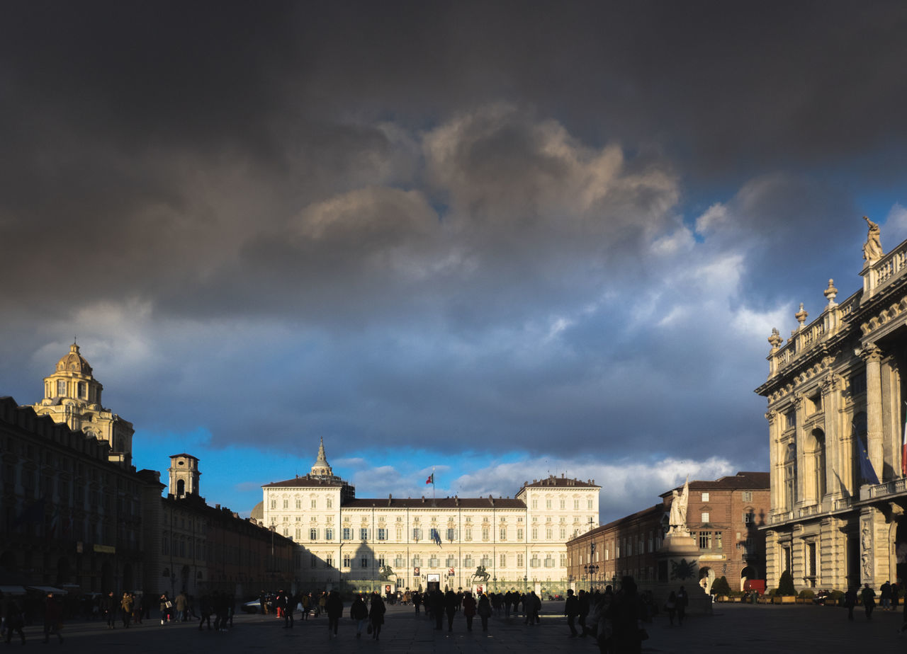 Torino Piazza Castello Architecture Building Exterior Built Structure City Cloud - Sky Day History Large Group Of People Low Angle View Outdoors People Piazza Castello Sky Storm Cloud Travel Travel Destinations Turin